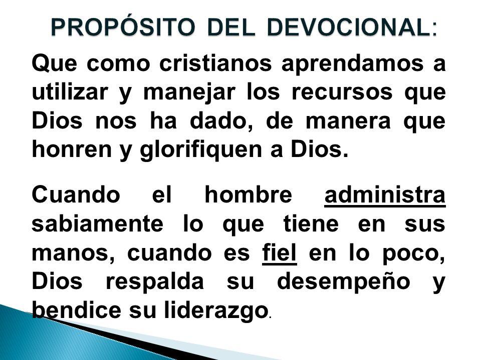 PROPÓSITO DEL DEVOCIONAL: