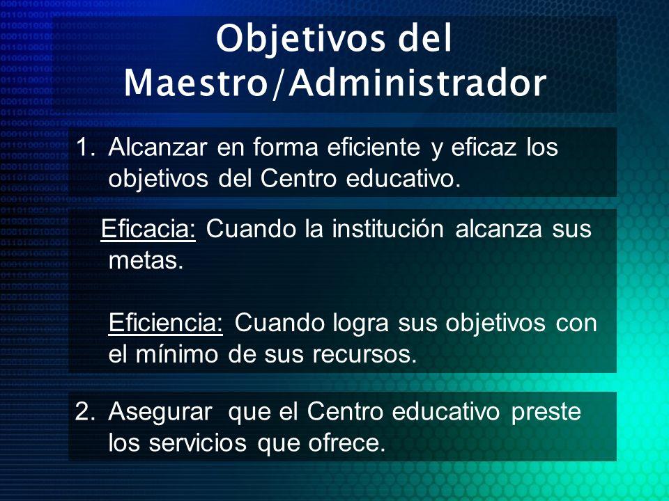 Objetivos del Maestro/Administrador