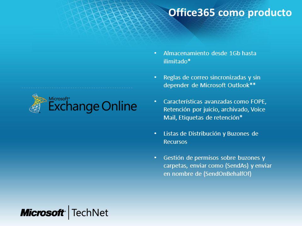 Office365 como producto Almacenamiento desde 1Gb hasta ilimitado*