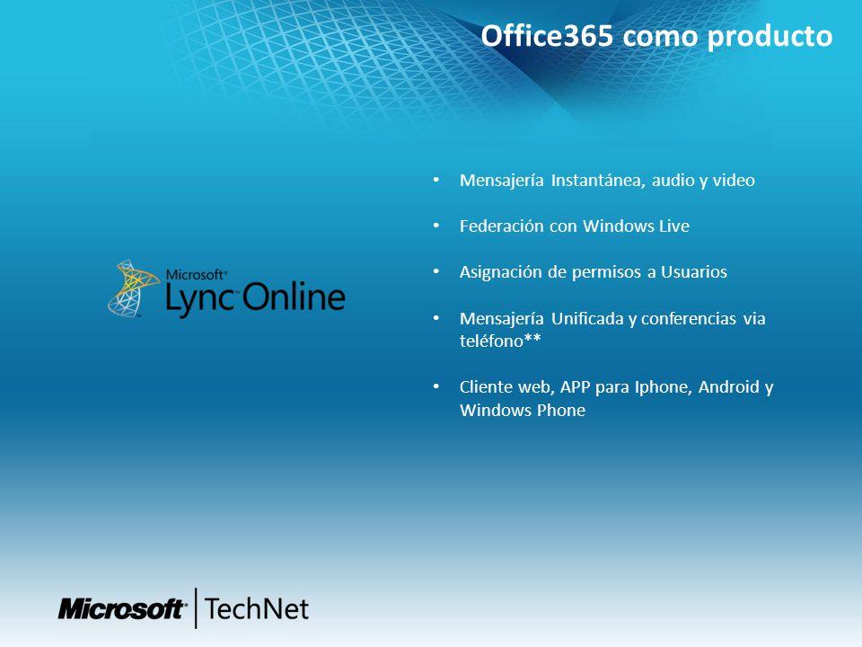 Office365 como producto Mensajería Instantánea, audio y video