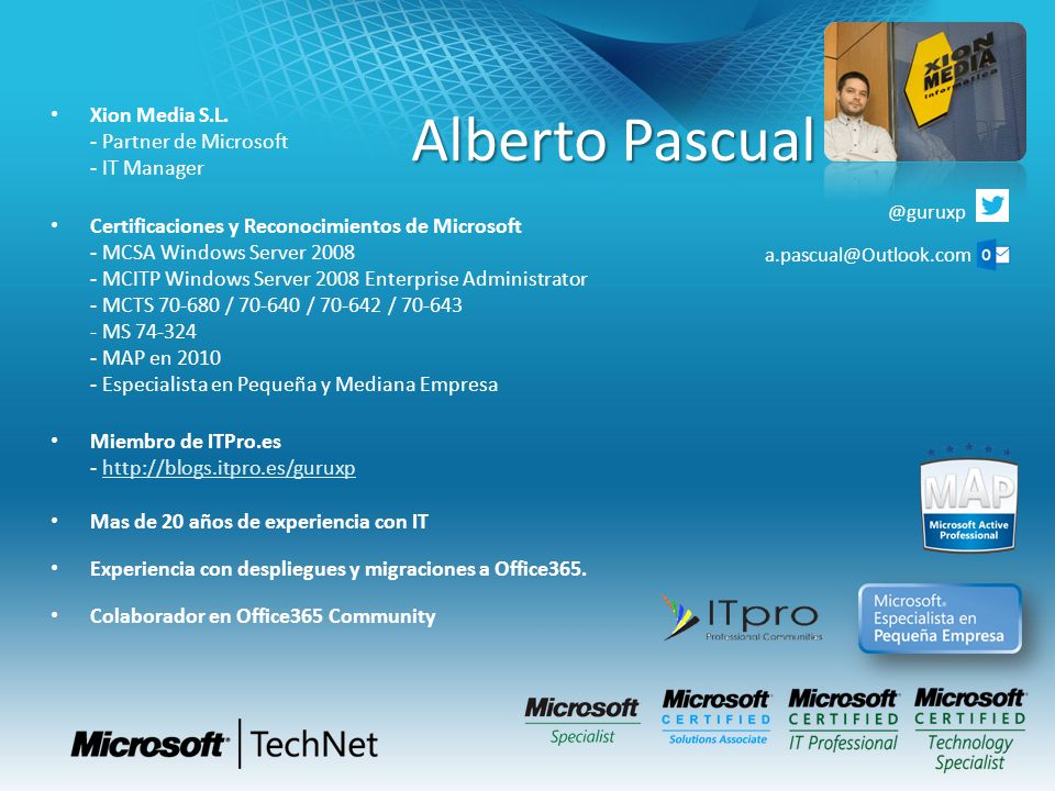 Alberto Pascual Xion Media S.L. - Partner de Microsoft - IT Manager