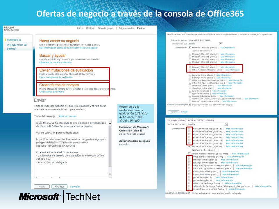 Ofertas de negocio a través de la consola de Office365