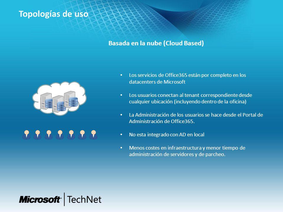 Topologías de uso Basada en la nube (Cloud Based)