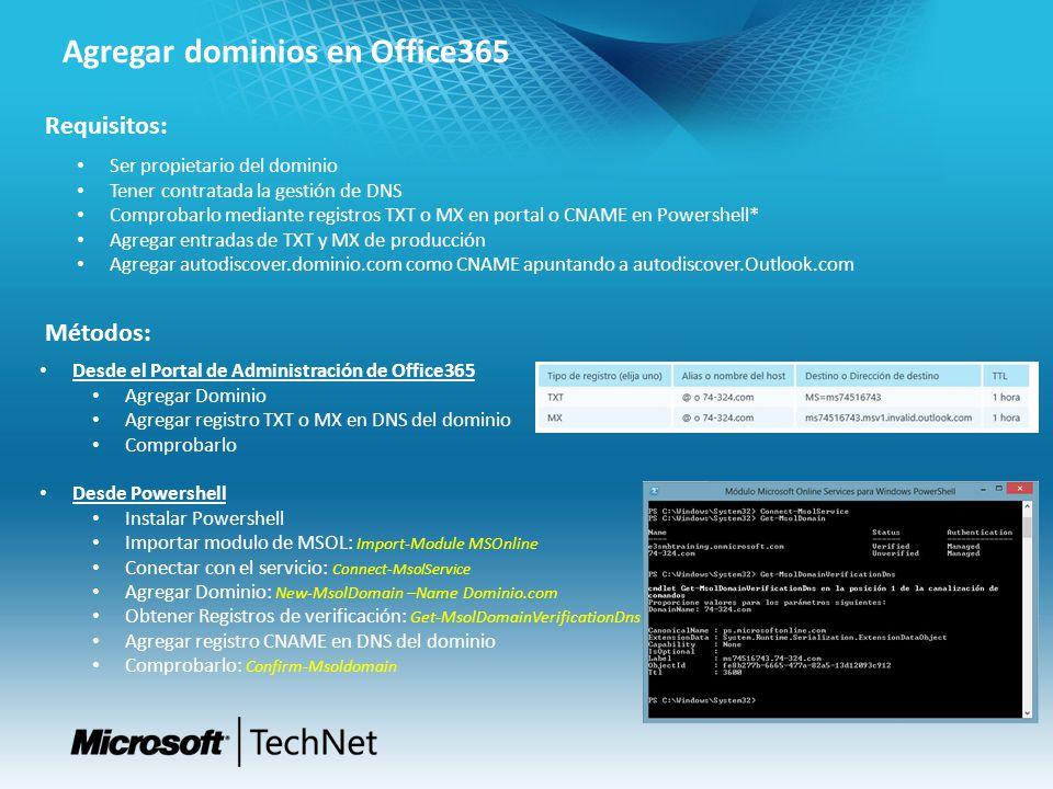 Agregar dominios en Office365