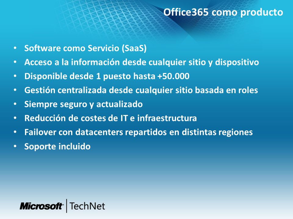 Office365 como producto Software como Servicio (SaaS)