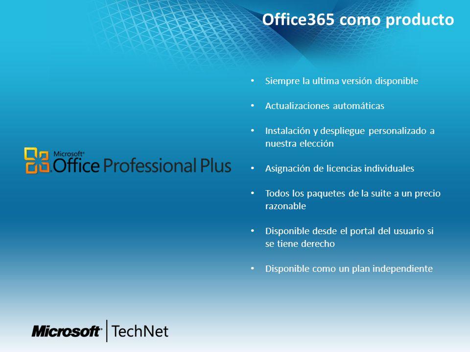Office365 como producto Siempre la ultima versión disponible