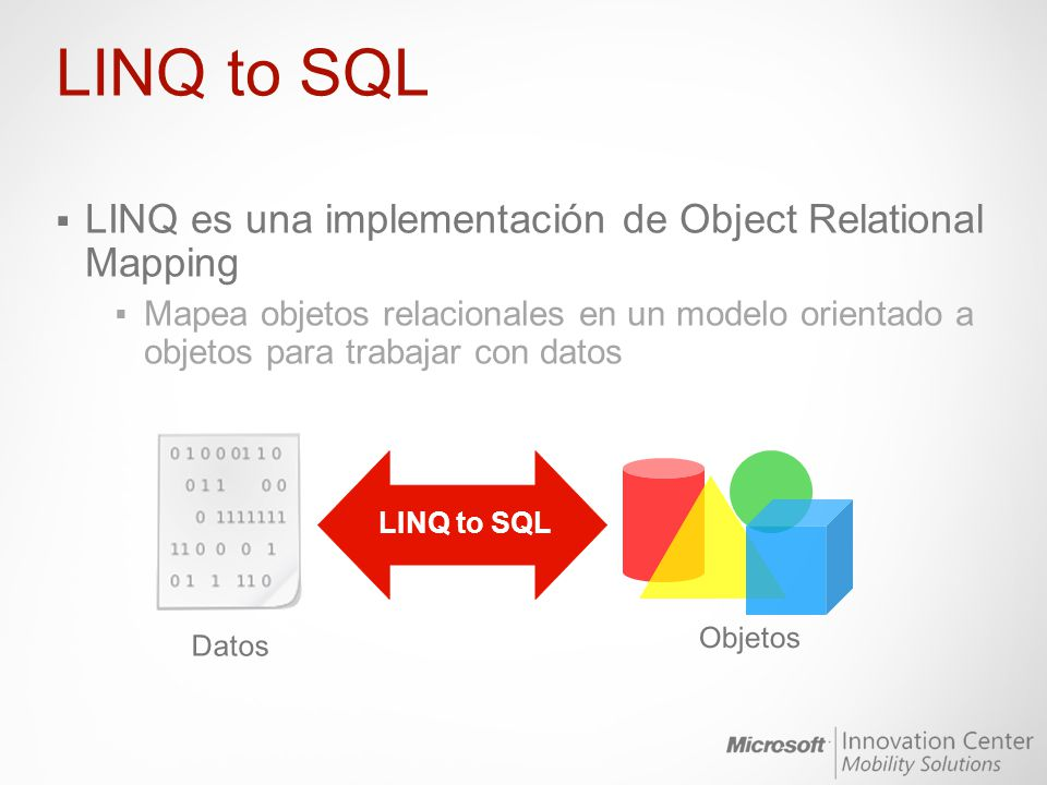 LINQ to SQL LINQ es una implementación de Object Relational Mapping