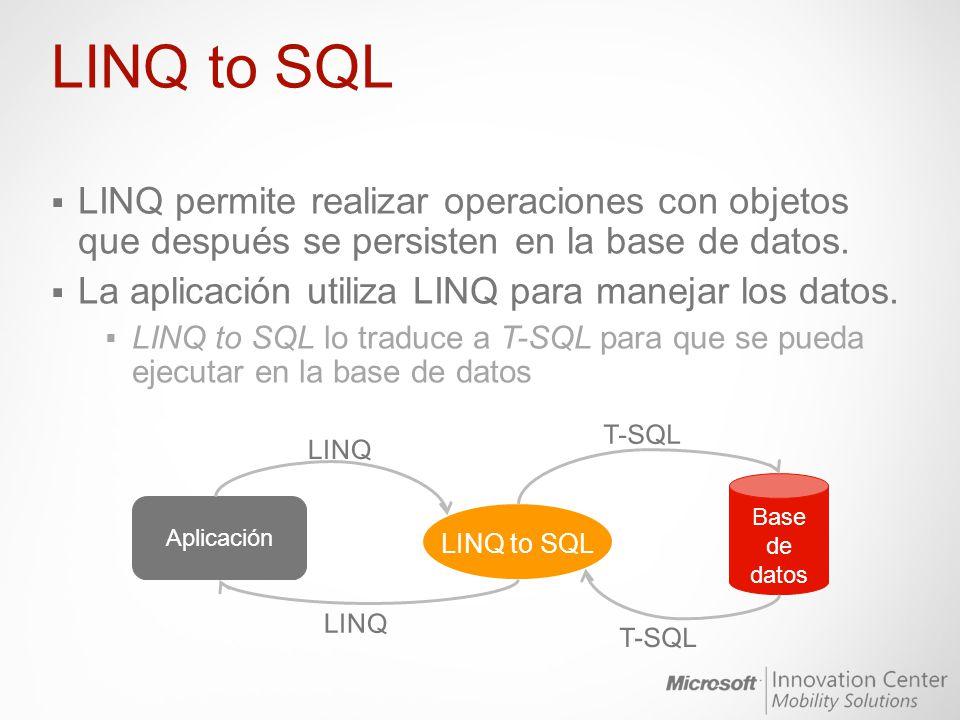 LINQ to SQL LINQ permite realizar operaciones con objetos que después se persisten en la base de datos.