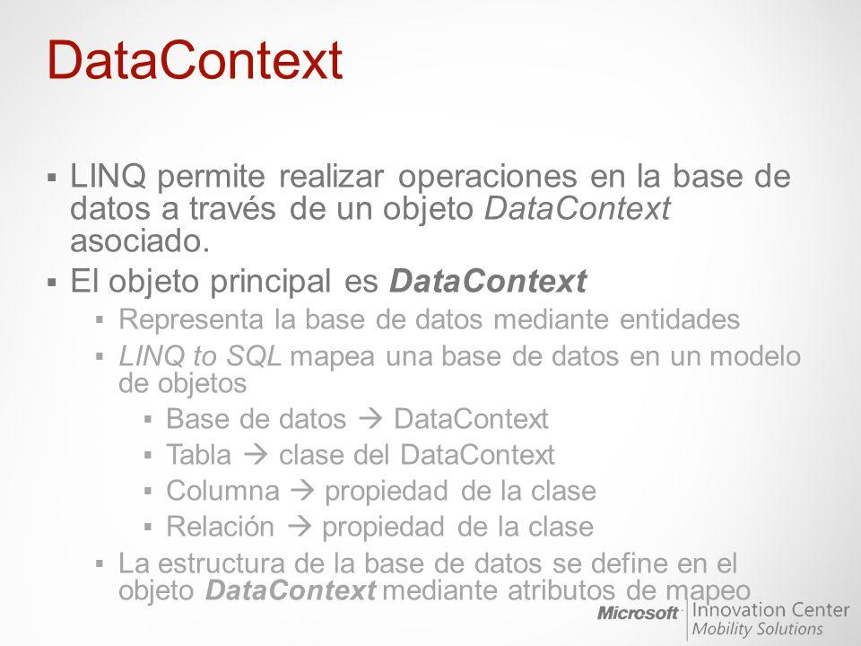 DataContext LINQ permite realizar operaciones en la base de datos a través de un objeto DataContext asociado.