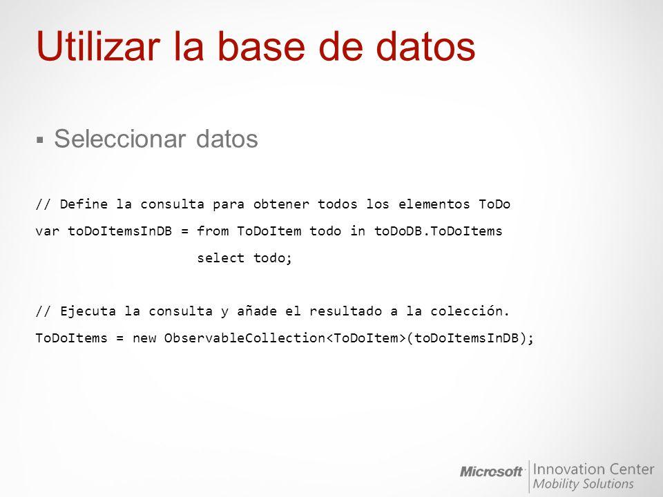 Utilizar la base de datos