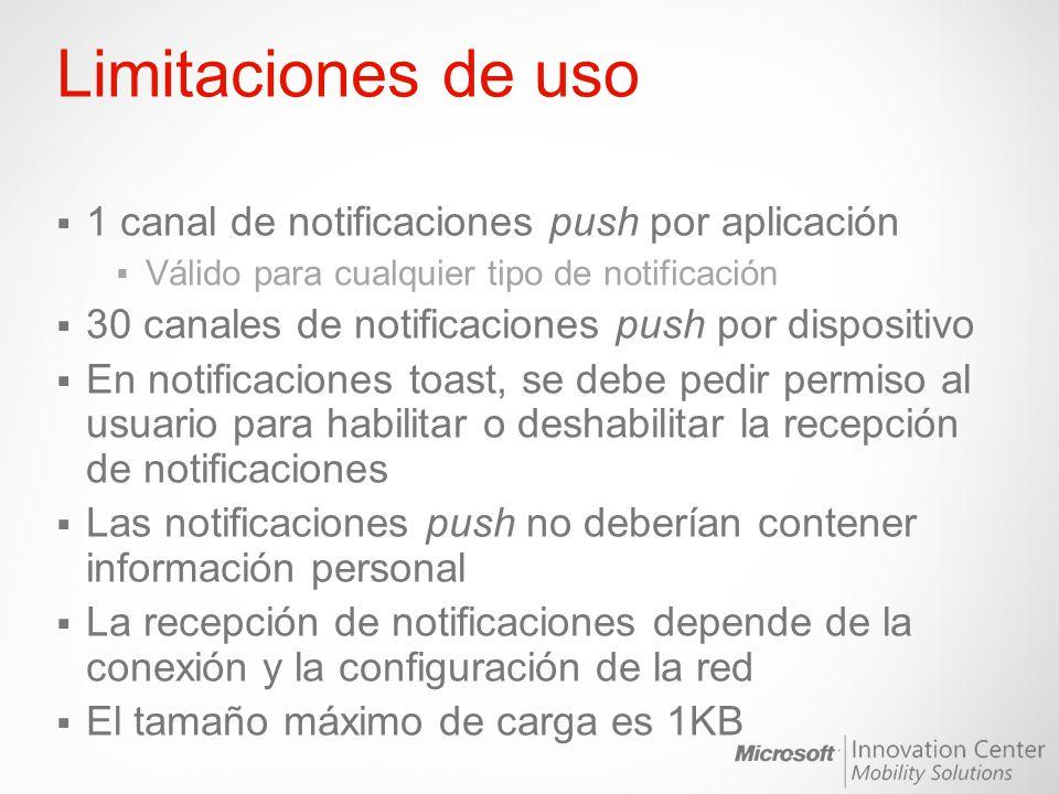 Limitaciones de uso 1 canal de notificaciones push por aplicación