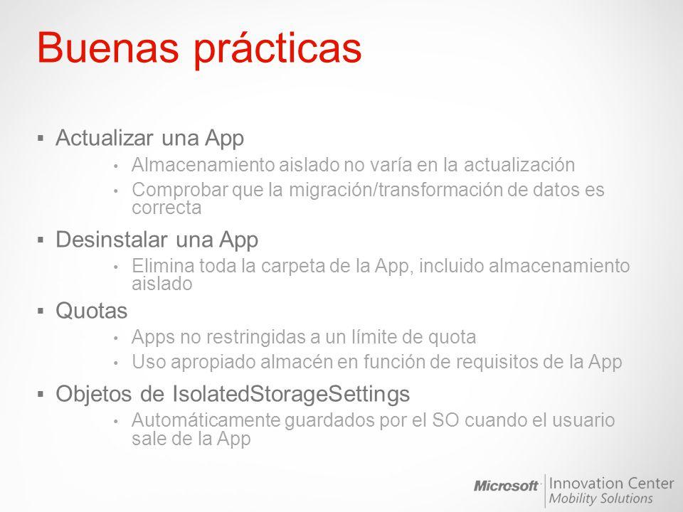 Buenas prácticas Actualizar una App Desinstalar una App Quotas