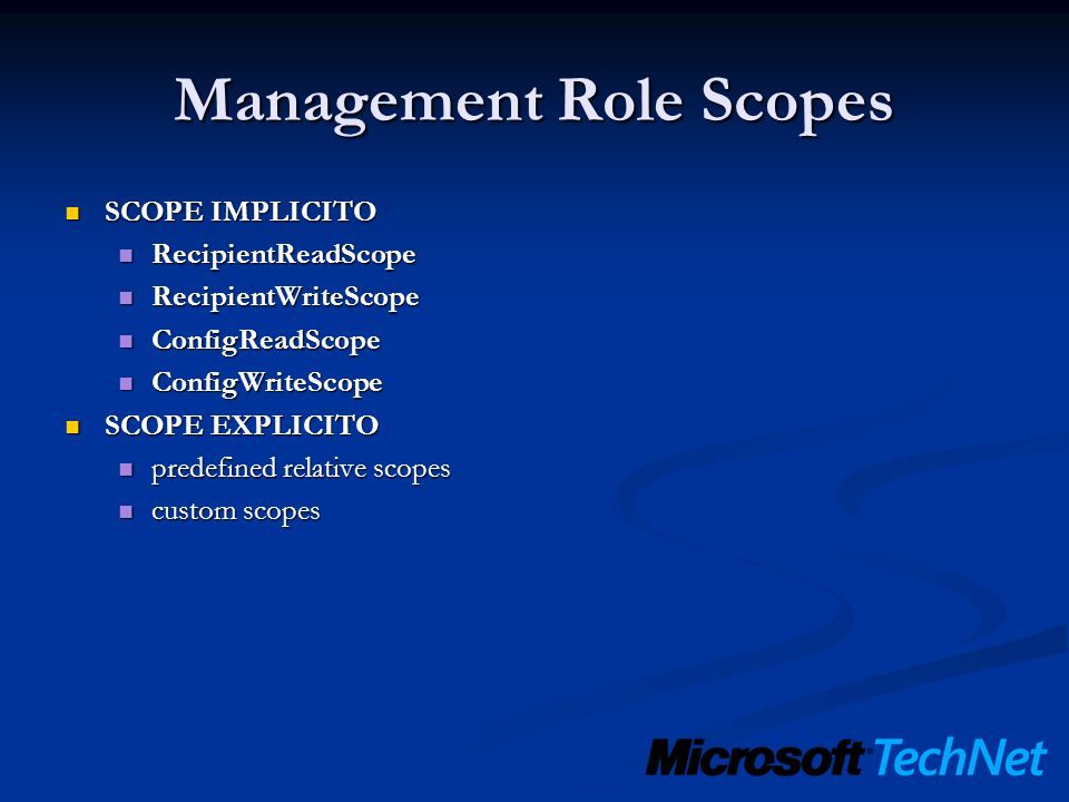 Management Role Scopes