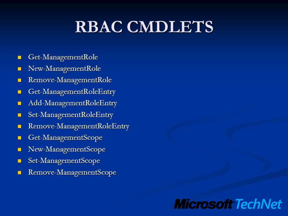 RBAC CMDLETS Get-ManagementRole New-ManagementRole
