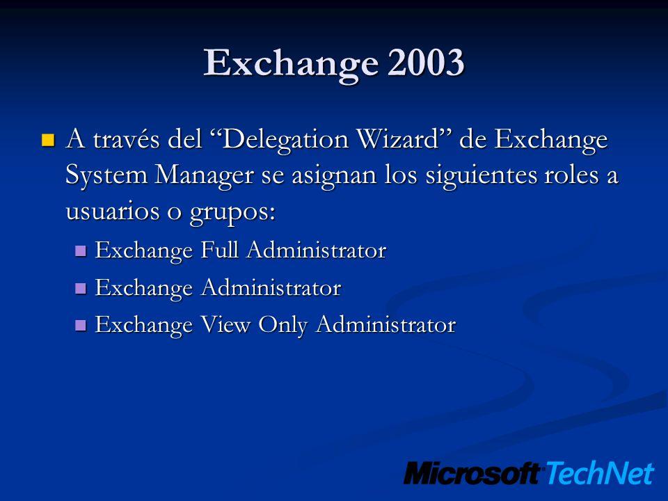 Exchange 2003 A través del Delegation Wizard de Exchange System Manager se asignan los siguientes roles a usuarios o grupos:
