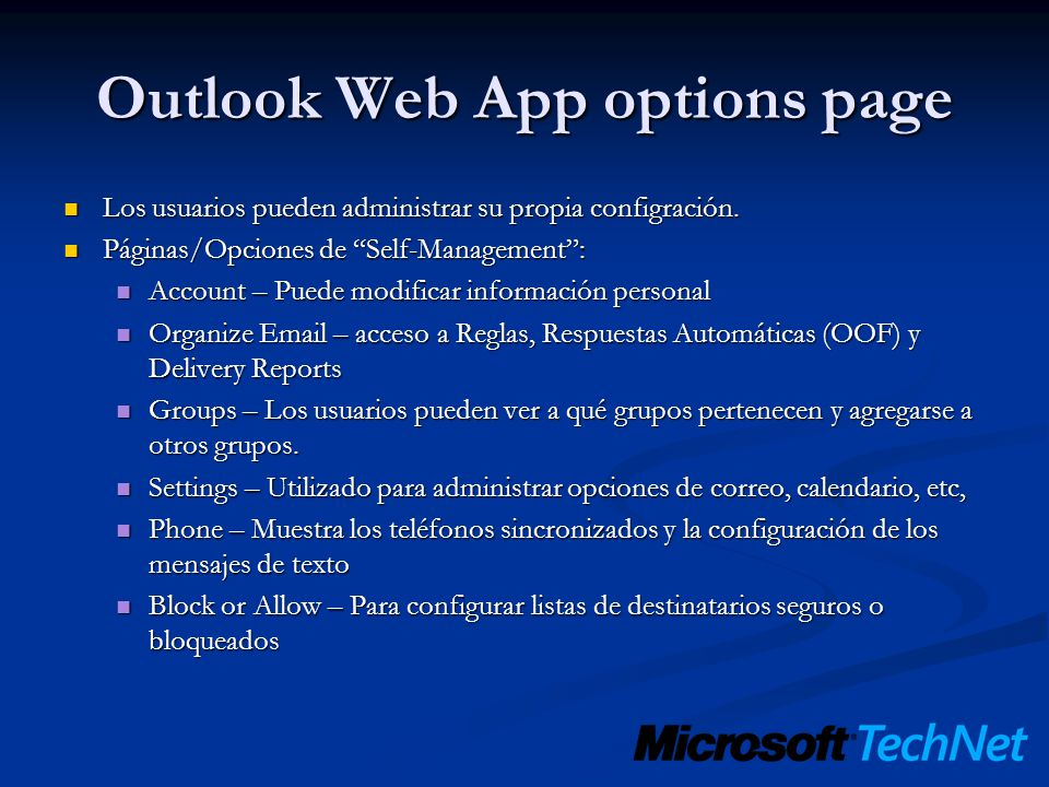 Outlook Web App options page