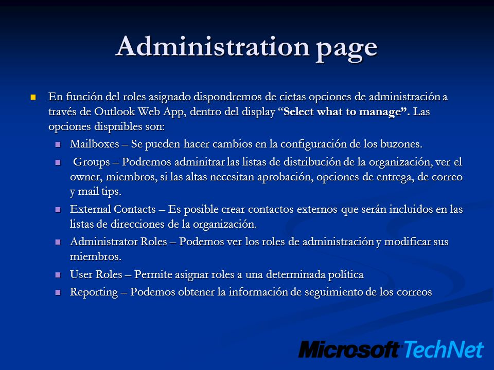 Administration page