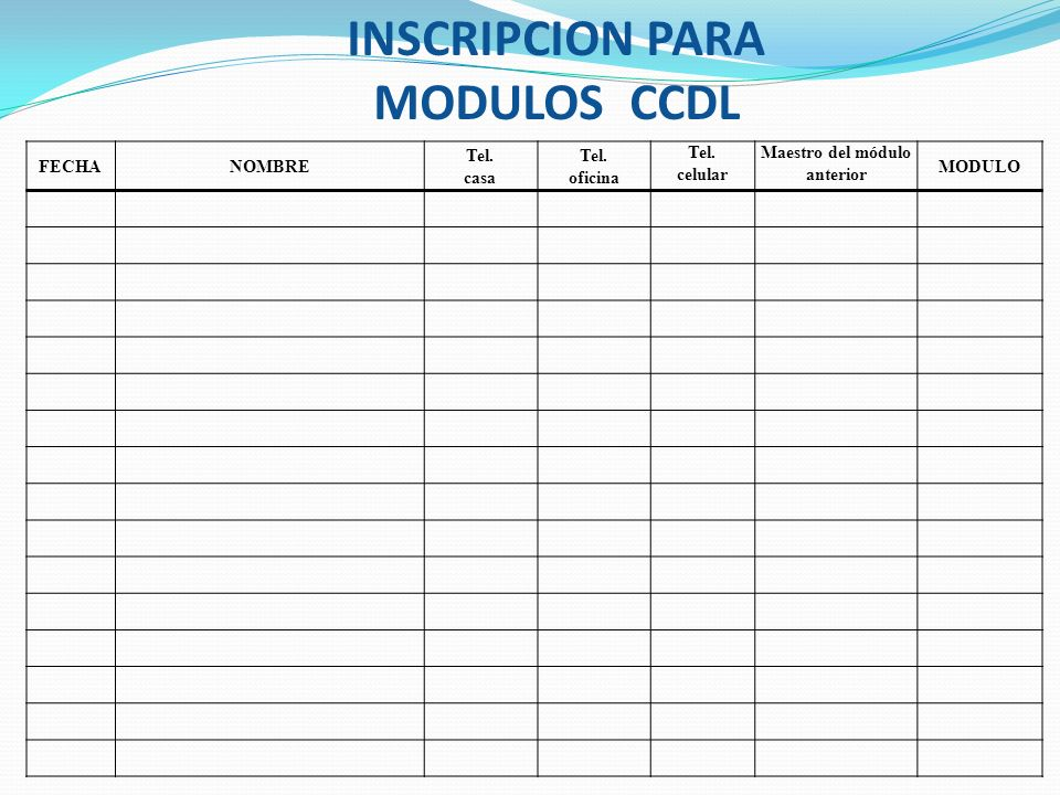 INSCRIPCION PARA MODULOS CCDL