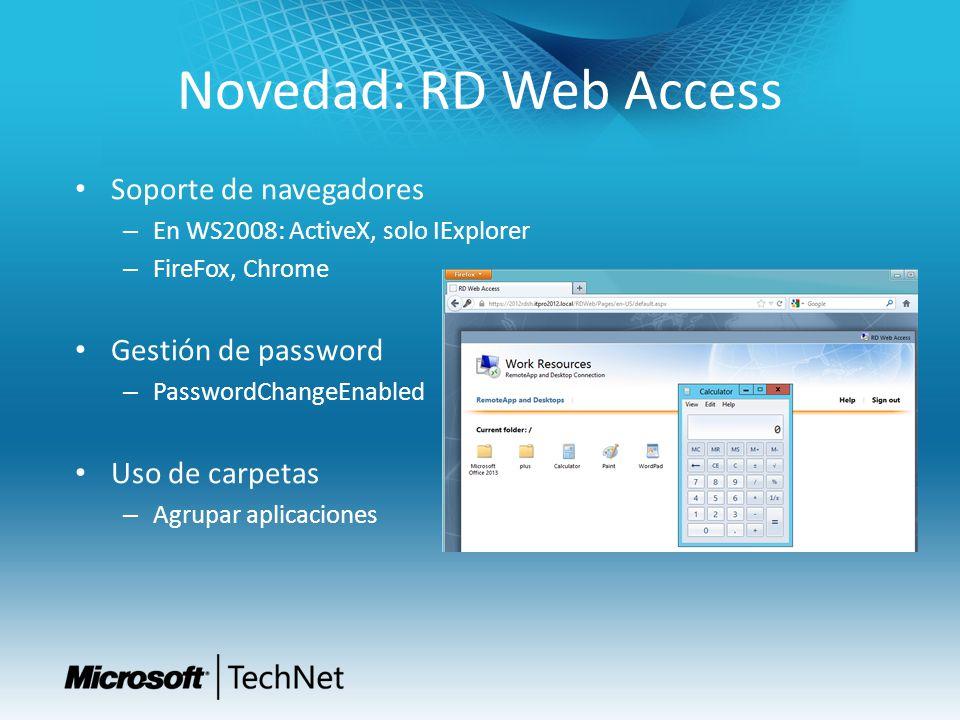 Novedad: RD Web Access Soporte de navegadores Gestión de password