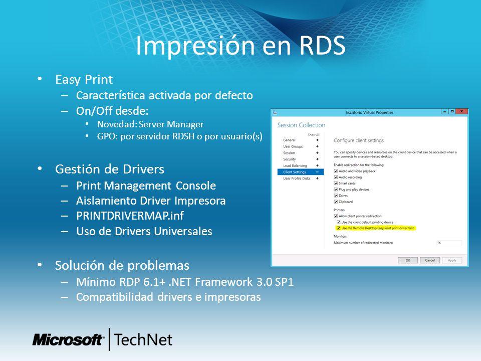 Impresión en RDS Easy Print Gestión de Drivers Solución de problemas