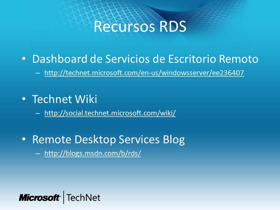 Recursos RDS Dashboard de Servicios de Escritorio Remoto Technet Wiki