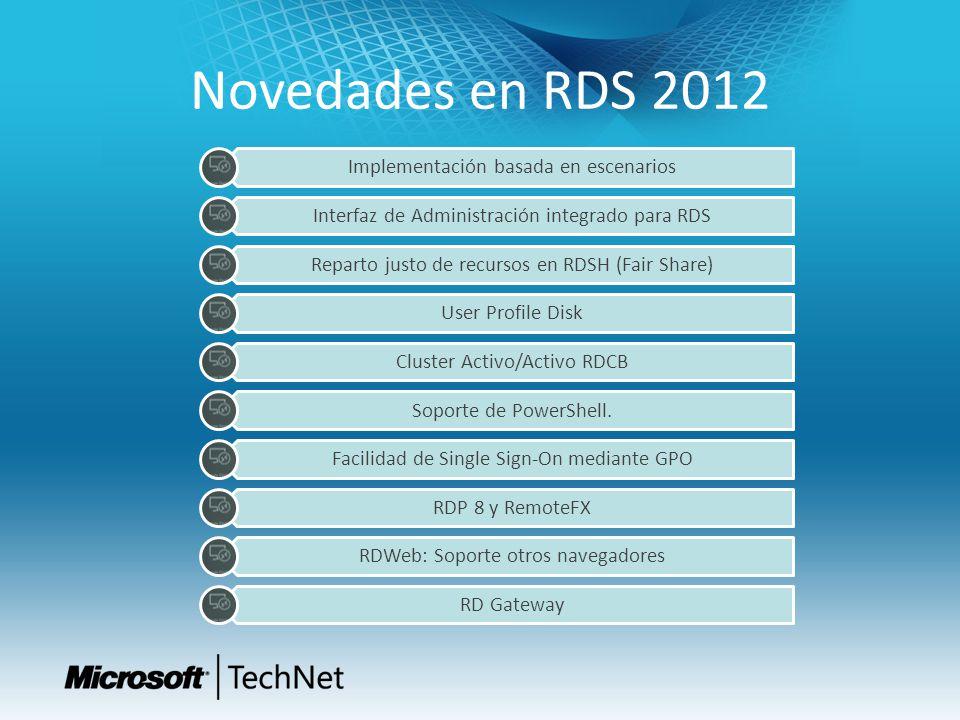 Novedades en RDS 2012 Implementación basada en escenarios