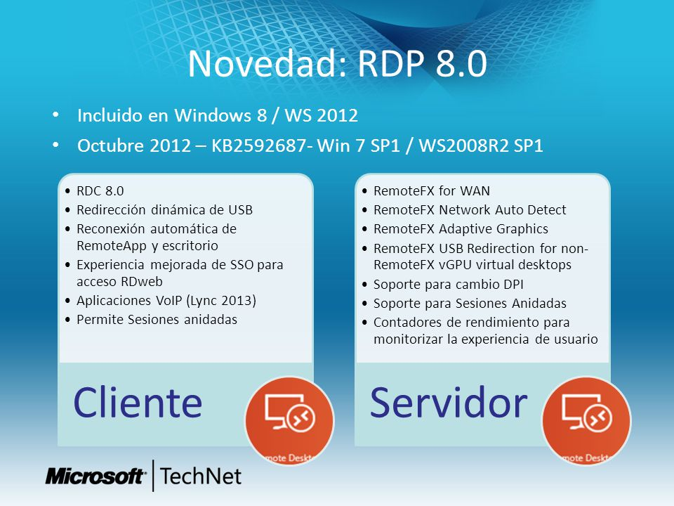 Cliente Servidor Novedad: RDP 8.0 Incluido en Windows 8 / WS 2012
