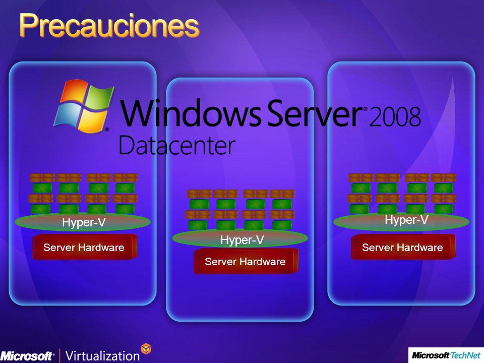 Precauciones Hyper-V Hyper-V Hyper-V Server Hardware Server Hardware
