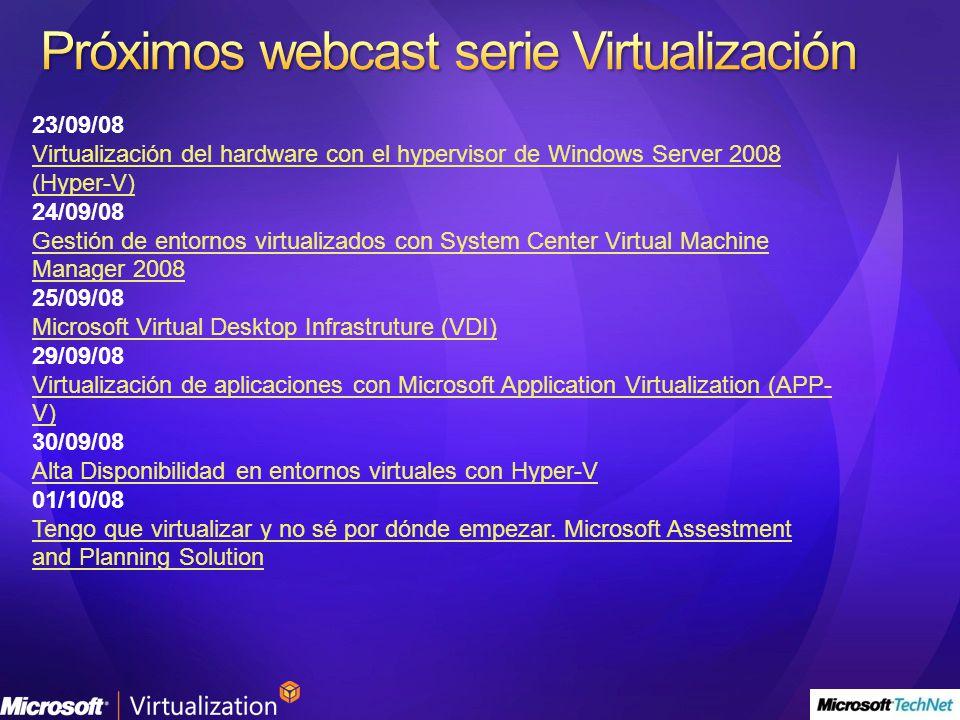 Próximos webcast serie Virtualización