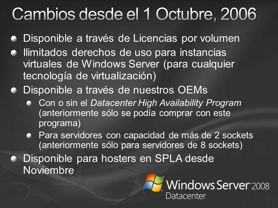 Cambios desde el 1 Octubre, 2006