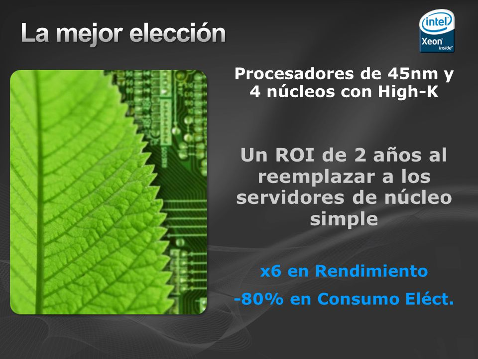 La mejor elección Procesadores de 45nm y 4 núcleos con High-K. Un ROI de 2 años al reemplazar a los servidores de núcleo simple.