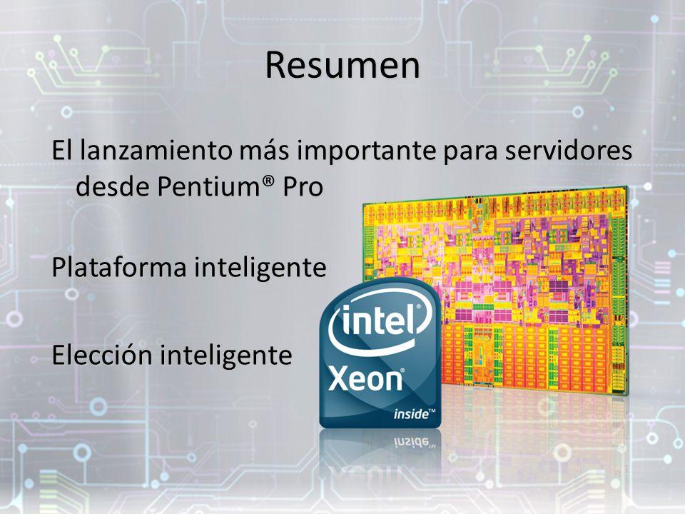 Resumen El lanzamiento más importante para servidores desde Pentium® Pro. Plataforma inteligente. Elección inteligente.