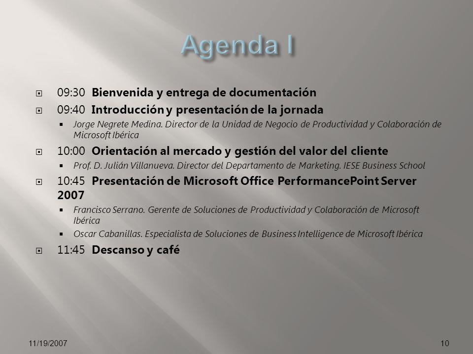 Agenda I 09:30 Bienvenida y entrega de documentación