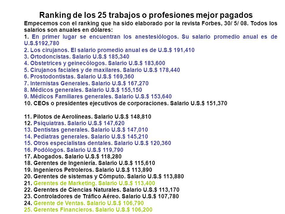 Ranking de los 25 trabajos o profesiones mejor pagados