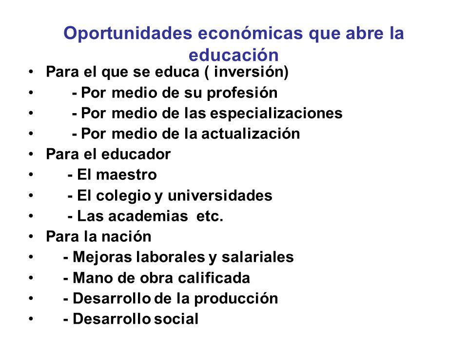 Oportunidades económicas que abre la educación
