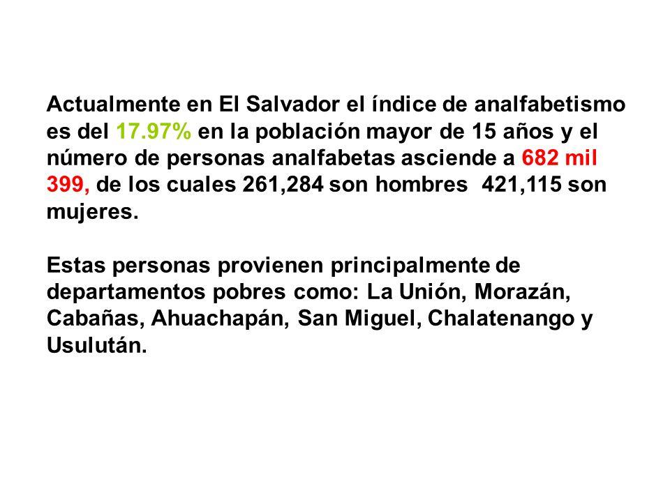 Actualmente en El Salvador el índice de analfabetismo es del 17