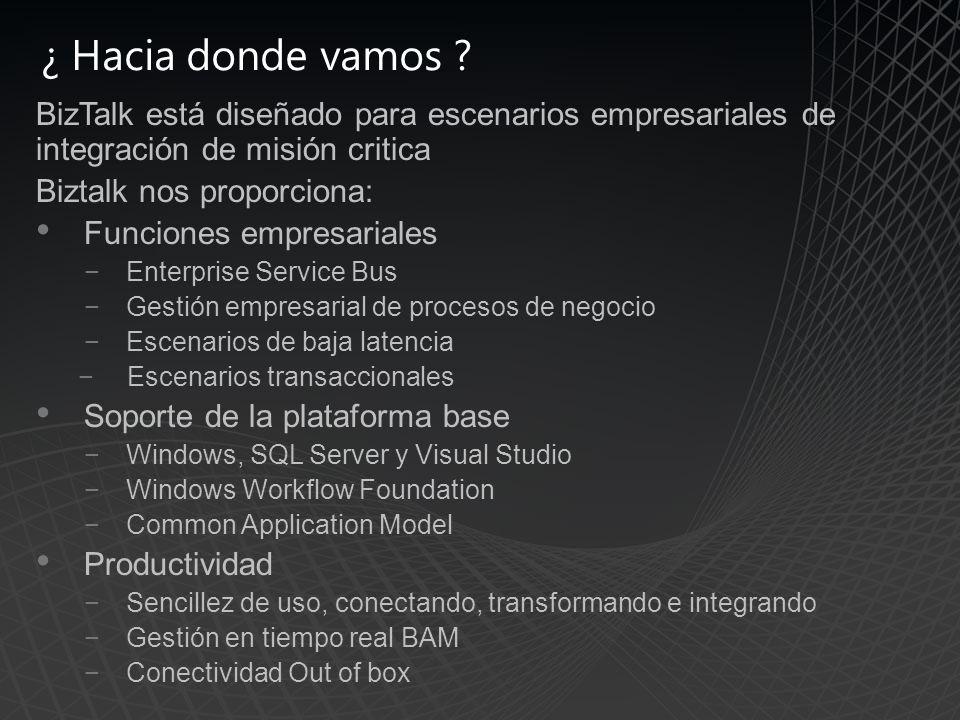 ¿ Hacia donde vamos BizTalk está diseñado para escenarios empresariales de integración de misión critica.