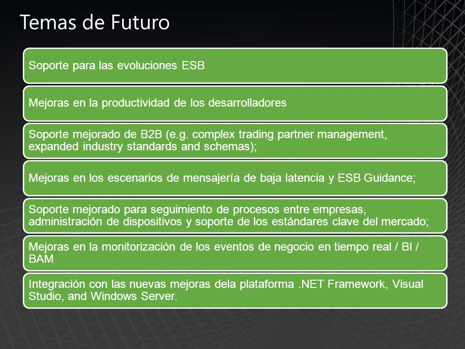 Temas de Futuro Soporte para las evoluciones ESB