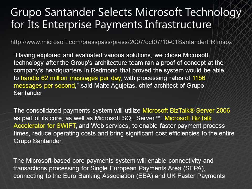 Grupo Santander Selects Microsoft Technology for Its Enterprise Payments Infrastructure