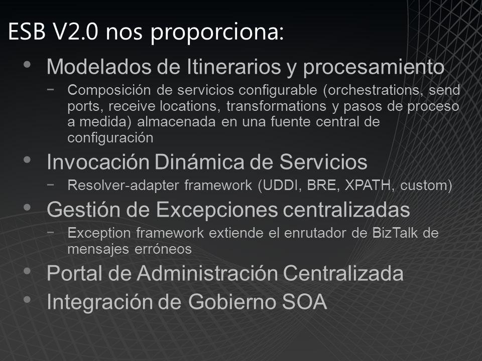 ESB V2.0 nos proporciona: Modelados de Itinerarios y procesamiento
