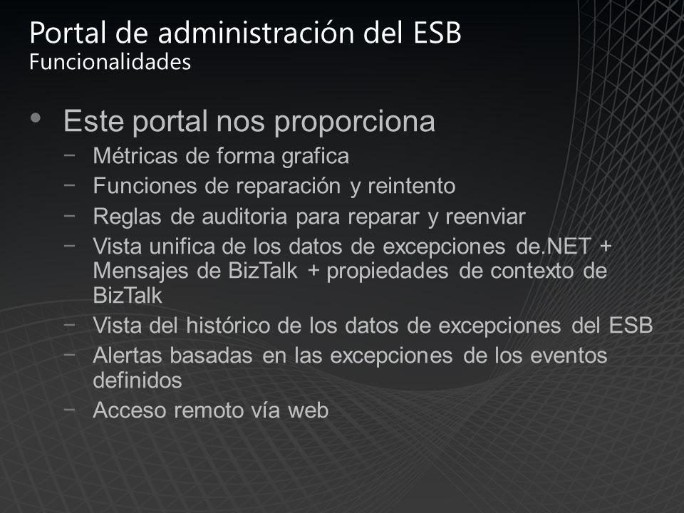Portal de administración del ESB Funcionalidades