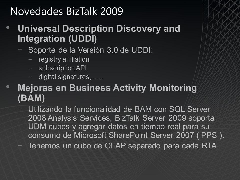 Novedades BizTalk 2009 Universal Description Discovery and Integration (UDDI) Soporte de la Versión 3.0 de UDDI: