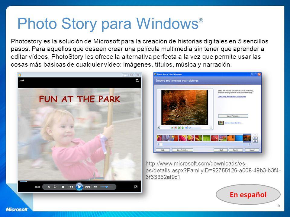 Photo Story para Windows®