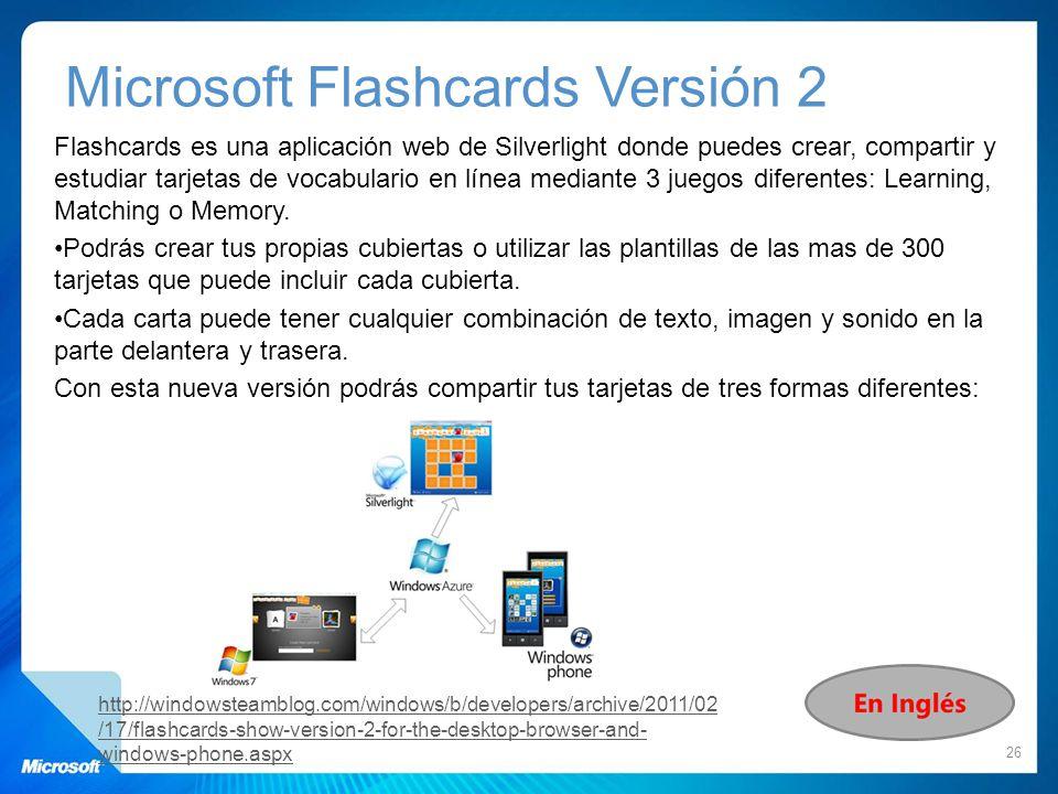 Microsoft Flashcards Versión 2