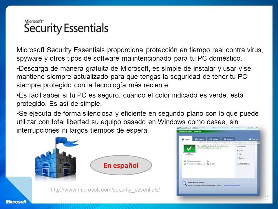 Microsoft Security Essentials proporciona protección en tiempo real contra virus, spyware y otros tipos de software malintencionado para tu PC doméstico.