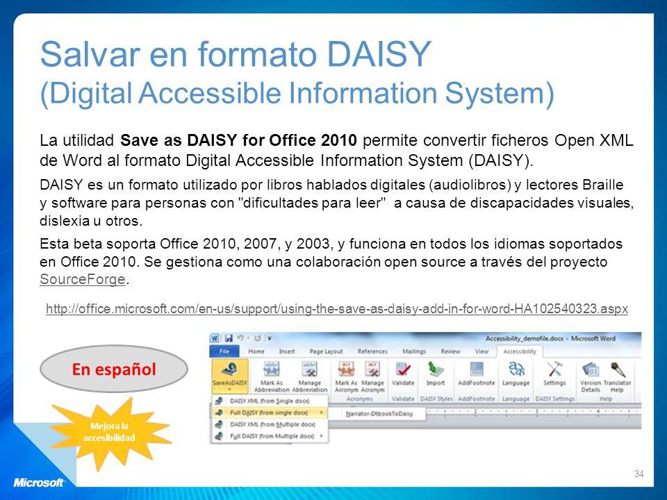 Salvar en formato DAISY (Digital Accessible Information System)