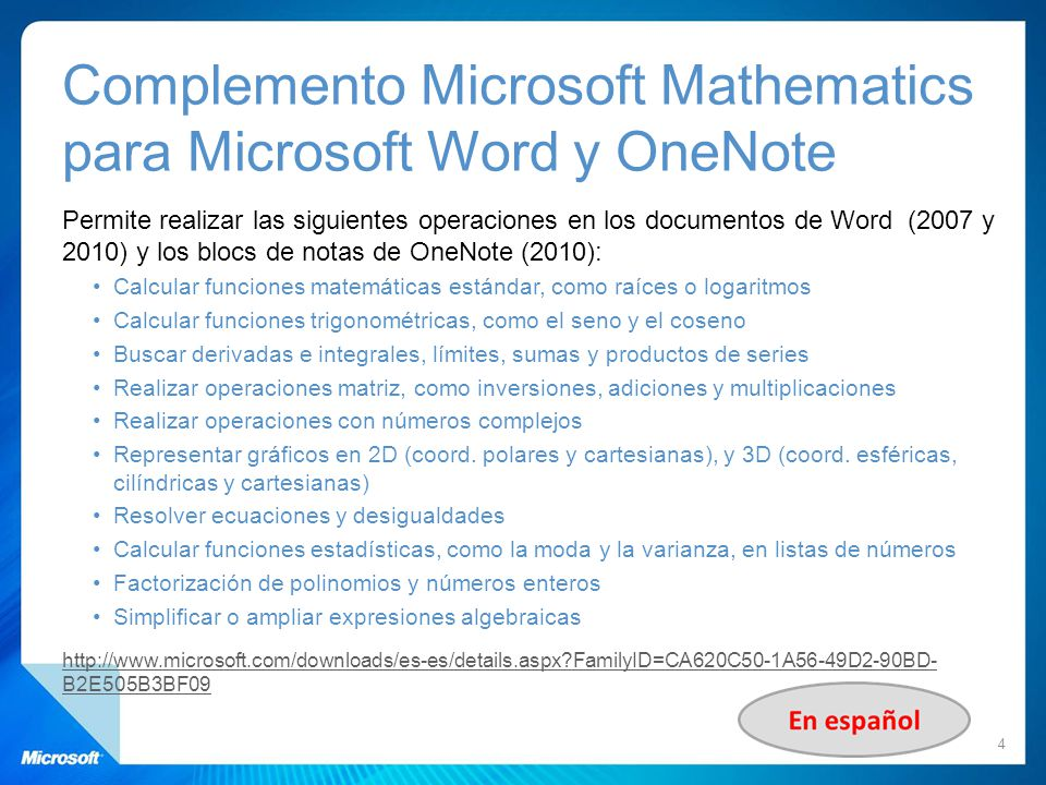 Complemento Microsoft Mathematics para Microsoft Word y OneNote