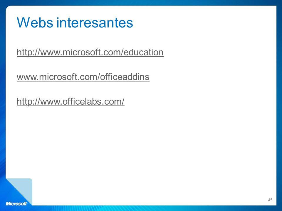 Webs interesantes http://www.microsoft.com/education