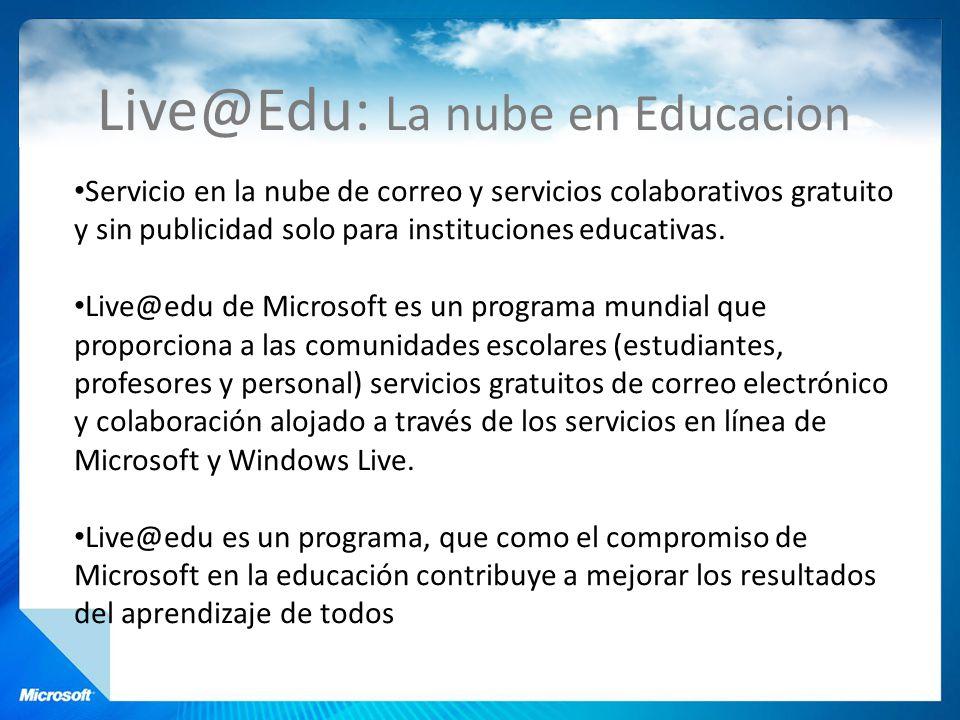 Live@Edu: La nube en Educacion