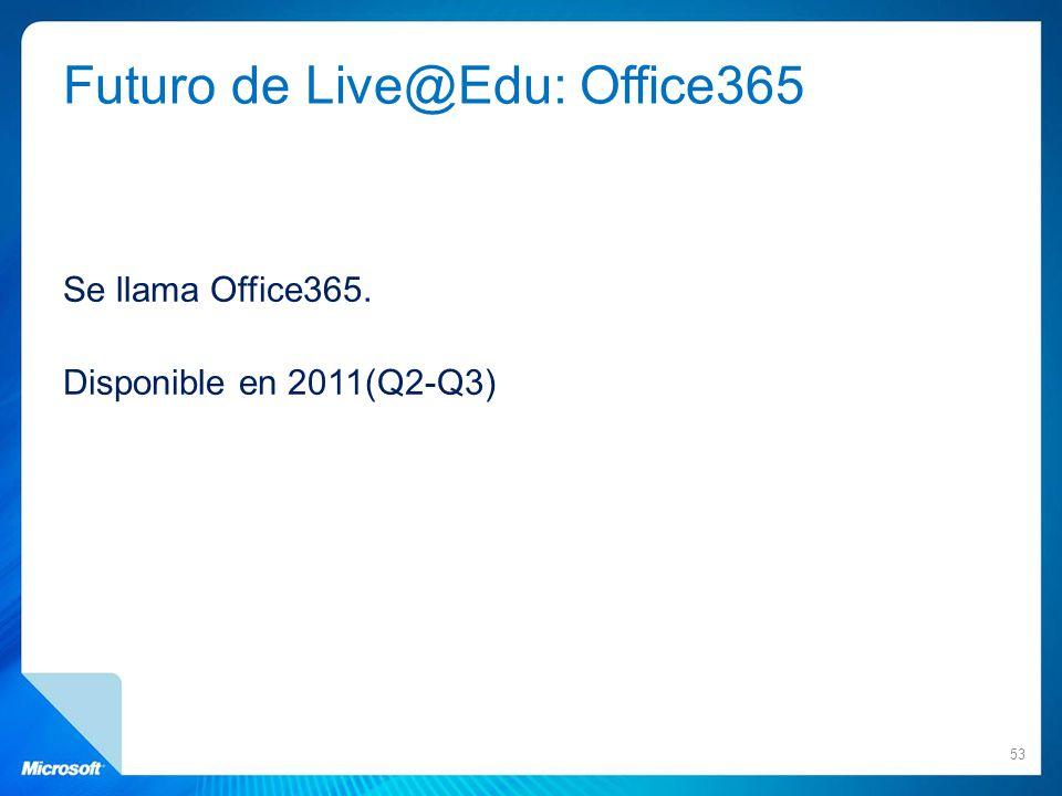 Futuro de Live@Edu: Office365